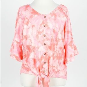 Girls Pink Tie-Dye Print Flared S/L Top NWT